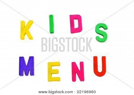 Kid's menu in magnet letters