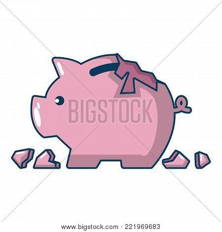 Broken piggy bank icon. Cartoon illustration of broken piggy bank vector icon for web