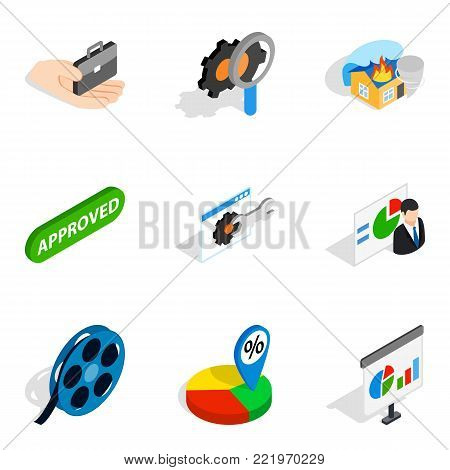 Faq info icons set. Isometric set of 9 faq info vector icons for web isolated on white background