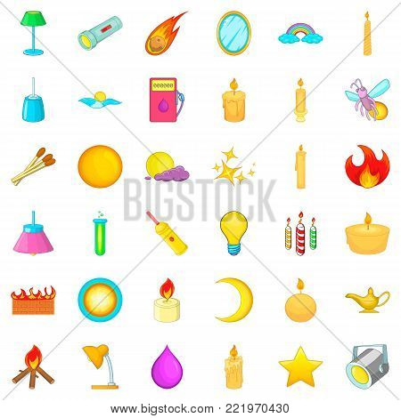 Light source icons set. Cartoon style of 36 light source vector icons for web isolated on white background