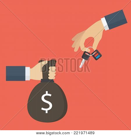 Renting and buying car concept. Hand holding car key and the other hand holding moneybag. Car dealer gives car key to buyer
