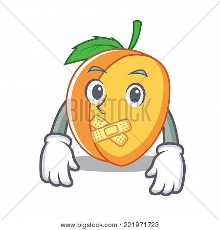 Silent apricot mascot cartoon style vector illustration
