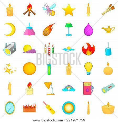 Illuminating icons set. Cartoon style of 36 illuminating vector icons for web isolated on white background