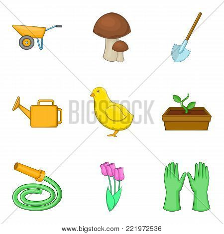 Harvest work icons set. Cartoon set of 9 harvest work vector icons for web isolated on white background