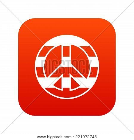 LGBT peace sign icon digital red for any design isolated on white vector illustration