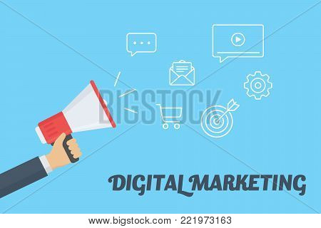 Digital marketing concept. Hand Holding megaphone with cloud of digital marketing icons