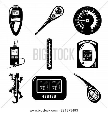 Thermometer indicators icons set. Simple illustration of 9 thermometer indicators vector icons for web