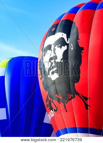 KUNGUR, RUSSIA - JULY 3: Hot air balloon with Ernesto Che Guevara portrait at the annual Kungur Hot Air Balloon Fiesta on July 3, 2010 in Kungur, Russia.