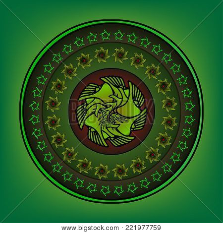 Round ornament with elaborate patterns on an green background