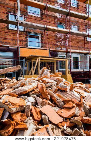 building rubble on construction site
