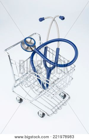 stethoscope and shopping cart
