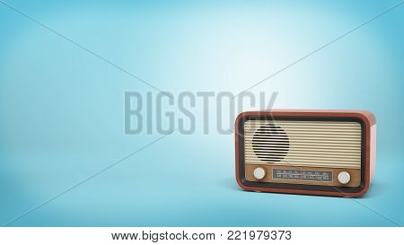 3d rendering of retro-style radio set in brown color with a speaker and tuner knobs stands on blue background. News update. Vintage appliances. Old school technology.