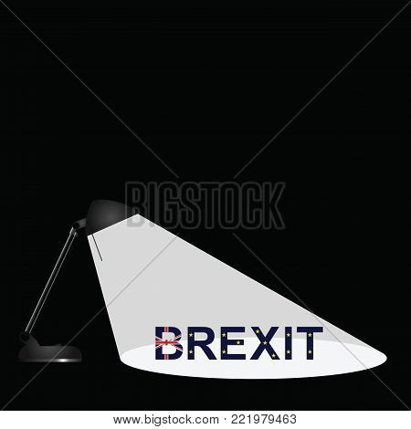 Representation of Brexit being under the spotlight following the United Kingdom exit from the European Union with copy space for own text