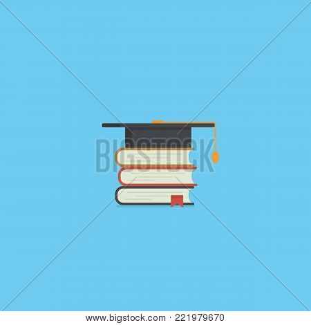 Pile of book and mortarboard. Education concept. Graduation cap