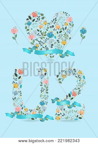 Love you too. Floral big heart, letter U and number 2. Blue satin ribbons with golden back and white texts. Graceful watercolor flowers and plants. Blue background. Vector Illustration