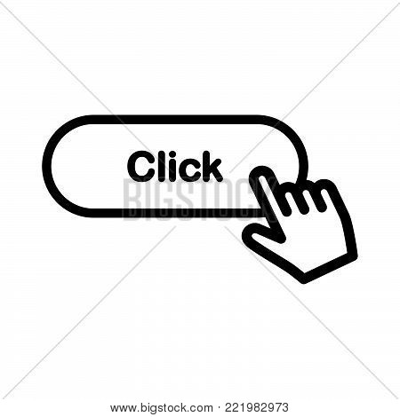 Click button icon isolated on white background. Click button icon modern symbol for graphic and web design. Click button icon simple sign for logo, web, app, UI. Click button icon flat vector illustration, EPS10.