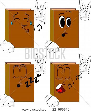 Books with hands in rocker pose. Cartoon book collection with various faces. Expressions vector set.