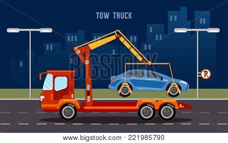 Tow truck in the city, tow truck transports the car, parking fine vector