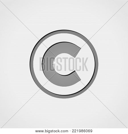 Illustration of copyright grey icon concept design