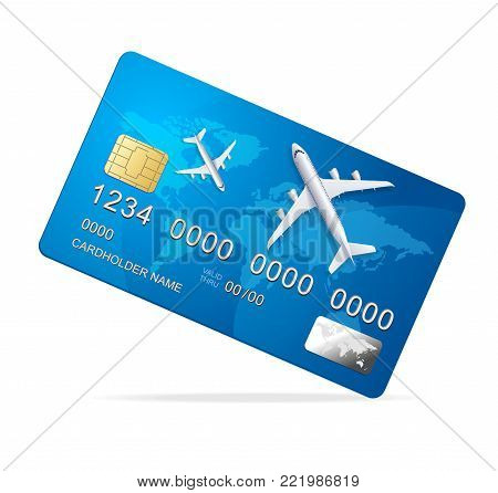 Realistic 3d Detailed Shiny Plastic Credit Card with Plane Travel and Tourism Concept Symbol Of Economy. Vector illustration