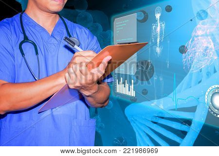 doctor note order data patient treatment in chart board chromosome and clipping paths