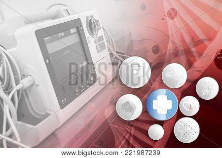 EKG or ECG monitor in emergency room and chromosome