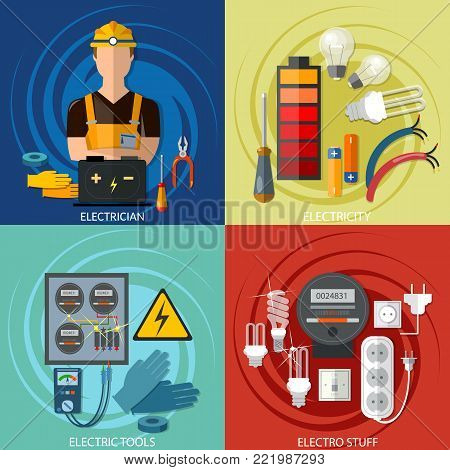 Professional electrical set, electricity energy electric man in yellow hard hat electric meter