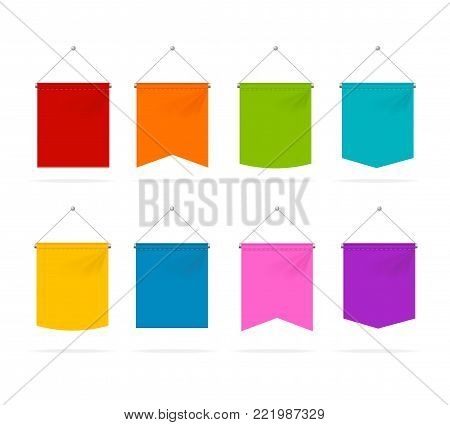 Realistic 3d Detailed Color Pennant Template Icons Set Isolated on White Background Symbol of Marketing. Vector illustration of Icon