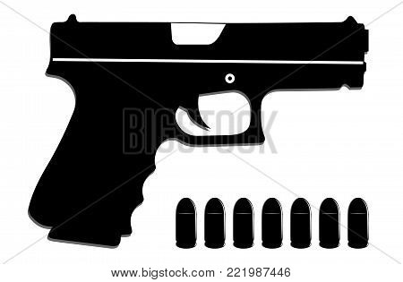 Gun with ammunition vector icon for posters and web usage