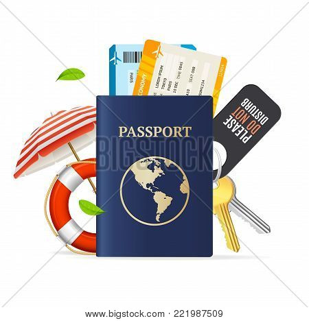 Realistic 3d Detailed Travel and Tourism Concept with Passport and Tickets Include of Keys, Umbrella Beach and Lifebuoy. Vector illustration