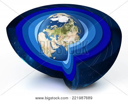 Earth levels of atmosphere diagram. 3D illustration.