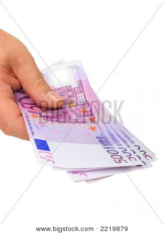 Hand Holding Euro Notes (Clipping Path Included)