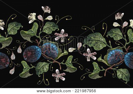 Classical embroidery blossoming plum on black background. Embroidery plums branch seamless pattern template fashionable clothes, t-shirt design
