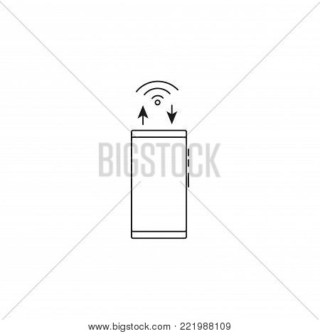 smarphone wireless sync simple line vector web graphic icon
