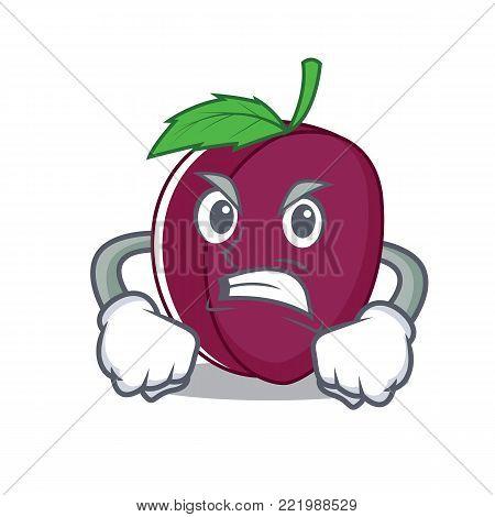 Angry plum mascot cartoon style vector illustration