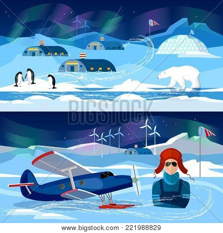 Flight on biplane banners. Travel to Antarctica concept. Scientific station on North Pole. Fauna of Antarctic, polar bear, penguins