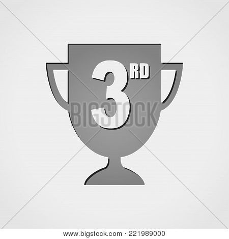 Illustration of third cup grey icon concept