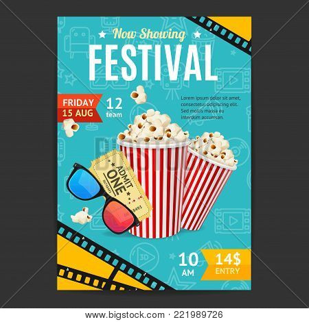 Cinema Movie Festival Placard Banner Card and Popcorn, Ticket, Glass for Ad, Invitation, Presentation. Vector illustration of Cinematography