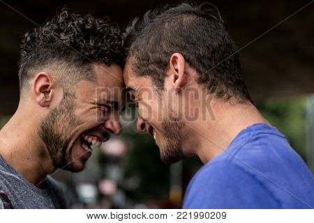 Homosexual Couple Smiling and Looking each Other
