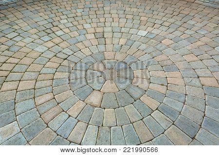 Garden Backyard circular Pattern brick stone pavers hardscape patio