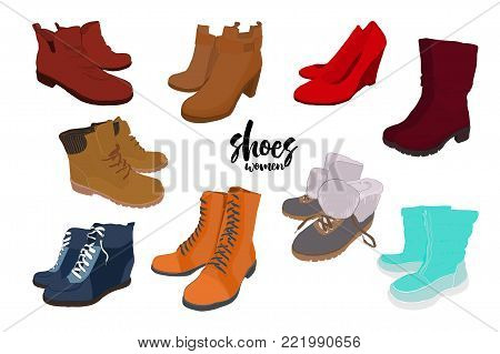 Vector illustration of Set hand drawn colorful man and women Footwear in isometric style. Shoes Casual and sport style, gumshoes, boots for cold seasons. Design isolated object.