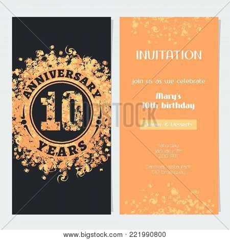 10 years anniversary invitation to celebration event vector illustration. Design element with gold color number and text for 10th birthday card, party invite