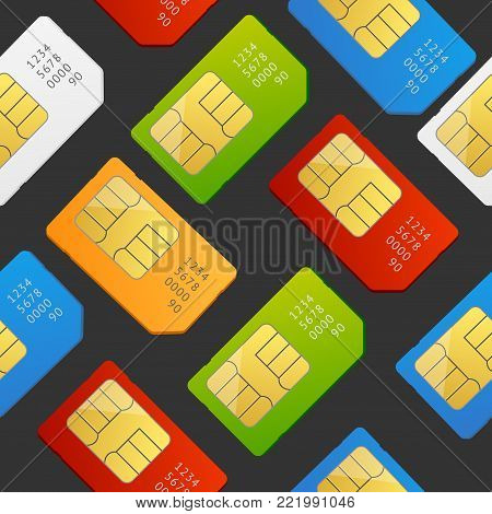 Realistic 3d Detailed Color Sim Card Seamless Pattern Background on a Dark Global Communication Technology Symbol. Vector illustration of Telephone Simcards