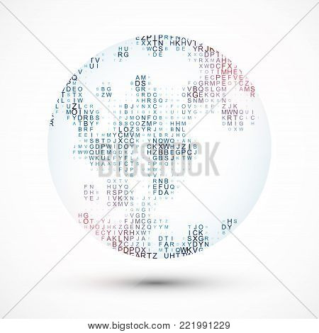 Abstract sphere with the chaotically located letters inwardly