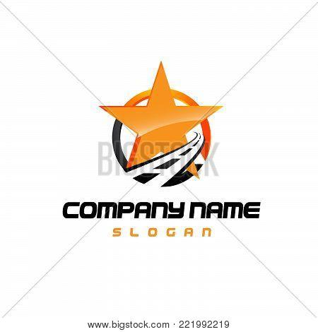 Star logo - vector logo concept illustration. Star and stripes vector logo.asphalt logo. Star abstract logo. Vector logo template.