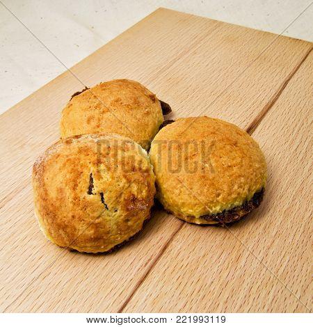 backed tasty chestnut doughnut (castanea sativa - fagaceae). for food concept