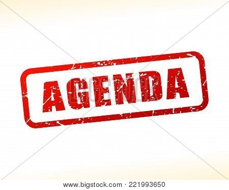 Illustration of agenda text buffered on white background