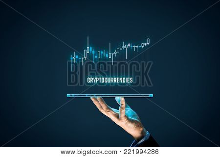 Cryptocurrencies investment concept. Investor with digital tablet and virtual tradeview graph. poster