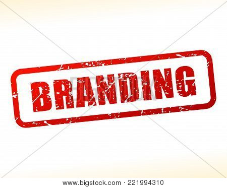 Illustration of branding text buffered on white background