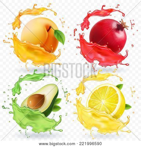 Apricot, lemon, pomegranate, avocado juice. Fruits in realistic splash vector set.